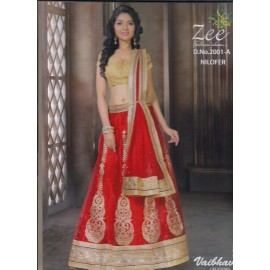 خرید لباس لهنگا هندى با بلوز نيمه آماده